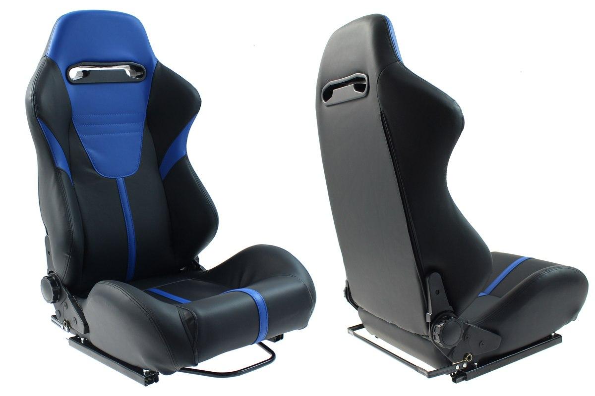Fotel sportowy R-LOOK II Skóra Black Blue - GRUBYGARAGE - Sklep Tuningowy